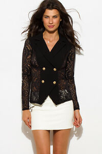 Four-button double-breasted lace back blazer by San Julian, Made in the USA