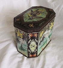 Beautiful Vintage Biscuit Tin Crane Caddy Gray Dunn & Co. Glasgow Scotland