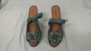 Miss Sixty Shoes Blue Wedge Ankle Strap Flowers Size US 9.5 40 Good Usable