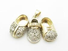 14k Oro Amarillo & Diamantes 3 Bebé Booby Zapato Diseño Colgante Charm