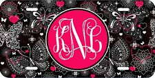 MONOGRAMMED LICENSE PLATE CUSTOM CAR TAG BLACK HOT PINK BUTTERFLY