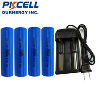 4 18650 High Drain Li-ion Rechargeable Battery 2200mAh 3.7V+18650 Charger PKCELL