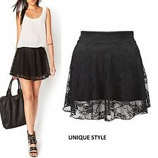 Womens Ladies Plus Size Floral Lace Skater Skirt Girl Flare Mini Skirt Size 8-22