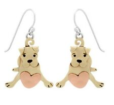 Far Fetched PUPPY LOVE Dog Earrings STERLING SILVER Brass Dangle + Gift Boxed