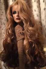 "GORGEOUS!! HH BLEND, Ombre Blonde, Red, Brown,Multipart, 32"" Long Lace Front Wig"