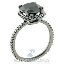 4.78 CARAT CERTIFIED NATURAL BLACK DIAMOND ENGAGEMENT RING 14K BLACK GOLD