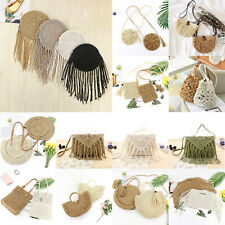 Straw Bag Rattan Woven Round Handbag Knitted Messenger Crossbody Beach Bali Tote