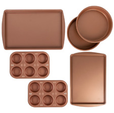 6 Piece Bakeware Set Muffin Cake Cookie Pans Nonstick Kitchen Baking Copper