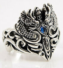 CELTIC DRAGON .925 STERLING SILVER MEN BAND RING Sz 8.5 NEW BLUE SAPPHIRE GOTHIC