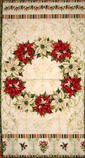 """Christmas Poinsettia Wreath Fabric 100% Cotton 24""""X44"""" Panel Tis The Season"""