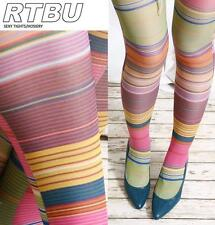 70's Retro Trend Twiggy Hairline PinStripe Fashion Print Opaque Pantyhose Tights