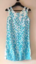 Vintage Mod Atomic Shift Dress Retro c 1960s Blue White Cotton Womens M Lorraine