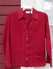 """CHICO'S 1 Red Suede Long Sleeved Button Down Pocket Shirt (42"""")"""