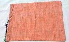 Cotton Drawstring Pouch, Gift bag Treasure Bag  Handmade two tone orange