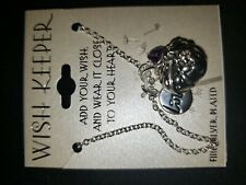 """Wish Keeper Locket Silver Plated 18"""" Necklace–Love-Heart-Purple Crystal NEW"""