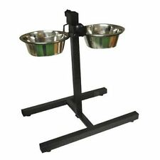 Double Stainless Steel Pet Dog Food Water Bowls Set Adjustable Height Stand