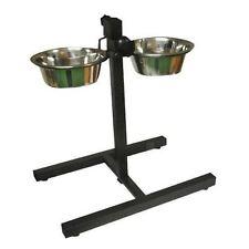 Doble De Acero Inoxidable para Mascota Perro Comida Agua tazones de fuente Set Soporte de Altura Ajustable