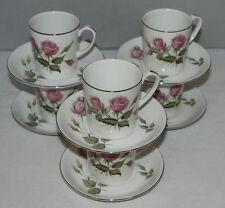 Alfred Meakin - Glo-White - Realm Rose - Set of 6 Coffee Cans/Mugs & Saucers