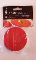 3 x Can Tin Cover Plastic Lid Caps Pet Food Fresh Top Storage Reusable Dog Cat