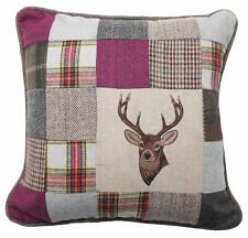 Super Tweed Cushion Pillow for Sofa & Bed Attractive Stag Design Countryside