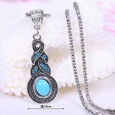 BOHO Tibet Silver Turquoise Crystal Pendant Chain Necklace Costume Jewelry Gift
