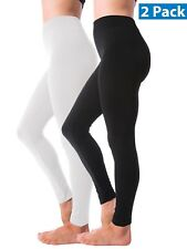 2 Pack Winter Warm Fleece Lined Thick Brushed Full Length Legging Pants