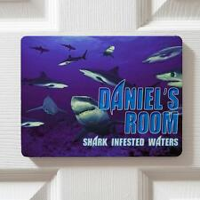 Personalised Sharks Ocean Children's Bedroom Door Kids Name Sign Plaque DPE15