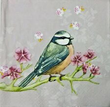 BIRD BLUE TIT ON A BRANCH 2 single LUNCH SIZE paper napkins for decoupage 3-ply