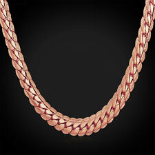MEN'S STAMPED 18K  ROSE GOLD PLATED SNAKE LINK CHAIN NECKLACE 26 INCH (USA)