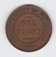 1925 George V Scarce Key Date One Penny Coin Commonwealth of Australia Q-55