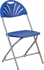 (10 PACK) 650 Lbs Capacity Commercial Grade Fan Back Blue Plastic Folding Chair