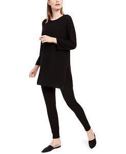 Eileen Fisher Women Clothing Lightweight Crewneck Tunic Sweater Black Sz M