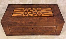 Antique Inlaid Wood Marquetry Jewelry Box Interior Removable Shelf w/ Mirror