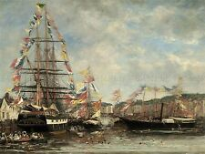 BOUDIN FRENCH FESTIVAL HARBOR HONFLEUR OLD ART PAINTING POSTER BB5294A