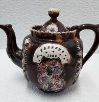 Victorian Measham Bargeware Brown Glaze Teapot  A Present 1882