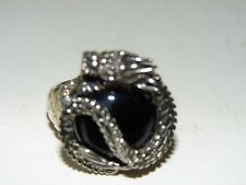 Sterling Silver Black Onyx Dragon Ring size 8