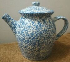 Vintage Blue Spongeware Teapot 72-oz Coffeepot Country Home Collections