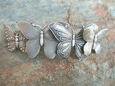 Butterflies Silver Plated Hair Barrette French Made 80mm Clip-Made in USA 6041S