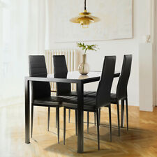 Family 5Piece Dining Table Set&4Chairs Faux Leather Kitchen Room Furniture Black