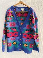 Vtg LL Bean Pink Blue Teal Geometric Tribal Cotton Button Up Cardigan Sweater S