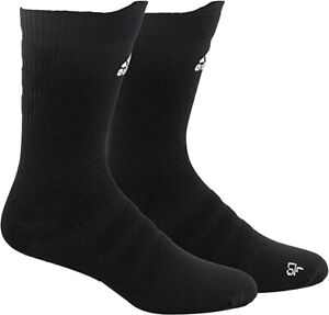 adidas Unisex-US Alphaskin Ultralight Crew Socks (1-Pair), Black/White, 9.5-12