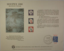 BEP card B 97 Vistor Centeer Canceled Houpex 1986 three Statue of Liberty stamps