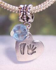 Hand Print Footprint Heart March Birthstone Baby Dangle Bead for Charm Bracelets