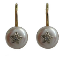 s WE968 Genuine 9K Gold Natural Diamond & Pearl White Star Earrings Hook Closure
