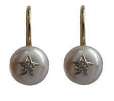 s WE968 Genuine 9K Gold Natural Diamond & Pearl White Star Earrings Hook Closure
