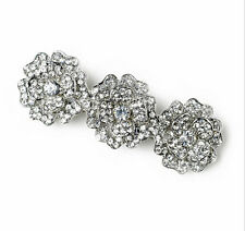Diamante Bridal White Rhinestones Three Flowers Hair Barrette Accessories HA190