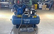 QUINCY QT-15 HP SCREW AIR COMPRESSOR 120 GAL TANK W/MOTOR STARTER (FULLY TESTED)
