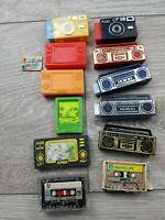 Vintage gettoblaster Camera Game TV Japan made Erasers Rubber Gommes Collection