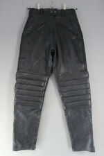 JTS BLACK LEATHER BIKER TROUSERS SIZE 14: WAIST 30 INCHES/INSIDE LEG 31 INCHES
