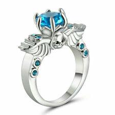 Size 6 Rhodium White Gold Platinum Plated Wedding Engagement Sapphire Skull Ring